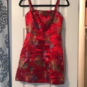 Red Chinese Print Dress